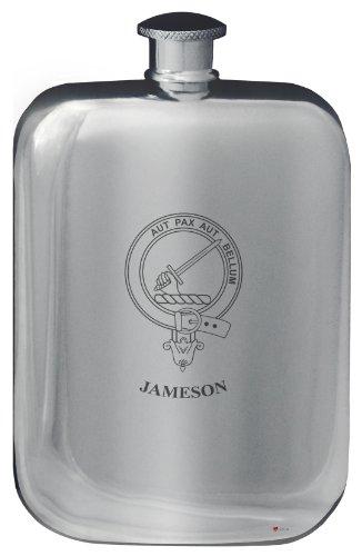 jameson-family-crest-design-pocket-hip-flask-6oz-rounded-polished-pewter