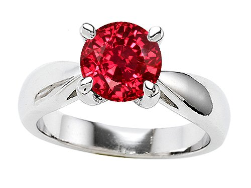 Original Star K(tm) 7mm Round Created Ruby Engagement Ring in .925 Sterling Silver Size 6