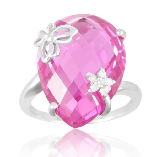 Sterling Silver Created Pink Sapphire and Diamond-Accent Ring, Size 8