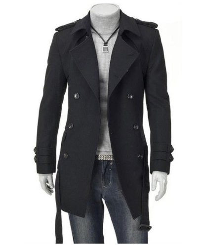 Zicac Men's Slim Fit Double Breasted D-Breasted Strap Trench Coat Winter Jacket Classical Design And Not Lose Fashion Taste US Size XS