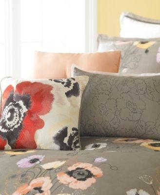 Martha Stewart Collection Bedding, Pastel Poppies 3 Piece Decorative Pillow Set front-1088038