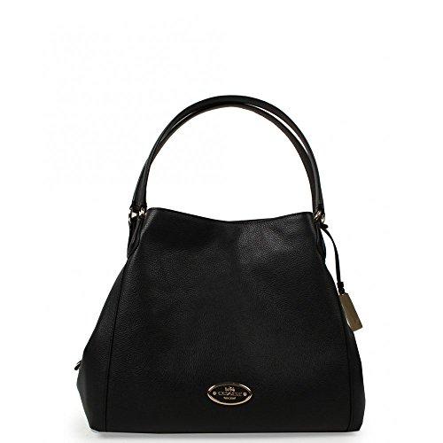Coach Edie Soft Leather Logo Slouchy Bag BLACK One Size