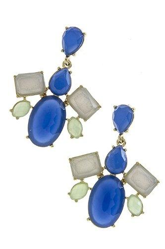 Karmas Canvas Multi Jewel Stacked Earrings (Blue-Grey) front-1007183
