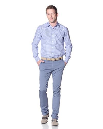 Nikky Men's 6 Point Hand-Made Shirt, 1 Button, Spread Collar, Regular Fit Dress Shirt  [Blue]
