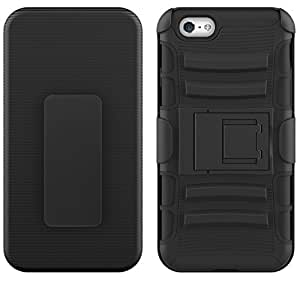 IPhone 5S Case, TURTLE Holster 360 Three Layer Hybrid Case Back Cover with Flip Kickstand for Apple IPhone 5S (Black)