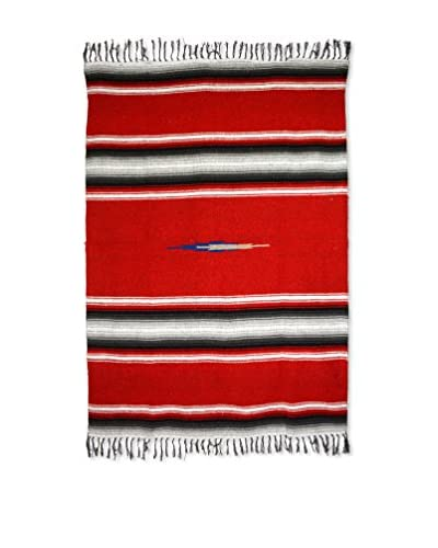 Uptown Down Found Woven Mexican Blanket Throw, Red/Black/White