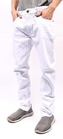 Mens Color Skinny Jeans (28/30, White)