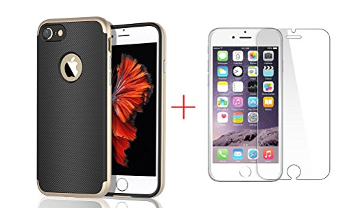 iPhone 7 Case, Weston Jewelers 2 in 1 Ultra Thin and Slim TPU Shockproof Protective Case with 1 Pack Premium Tempered Glass Screen Protector for Apple iPhone 7 (4.7'') (Gold) (Weston Screen compare prices)