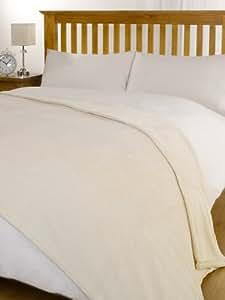 CREAM Large Size Super Soft Snug Fleece Blanket / Bed Sofa Throw Size - 160cm x 210cm by VICEROY BEDDING