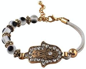 Evil Eye Hamsa Stretchy Bracelet with CZ Stones - Lead Free
