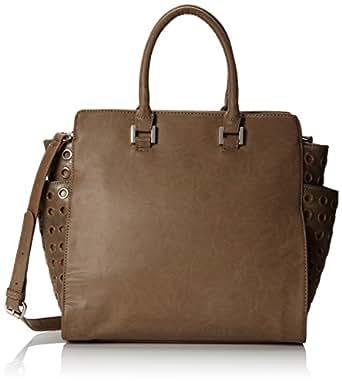 BIG BUDDHA Warren Satchel Top Handle Bag,Taupe,One Size