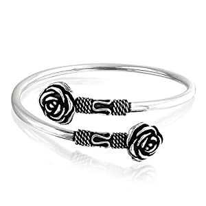 Bling Jewelry Rose Flower Bali Style Rope Style Oxidized Cuff Bracelet Sterling Silver
