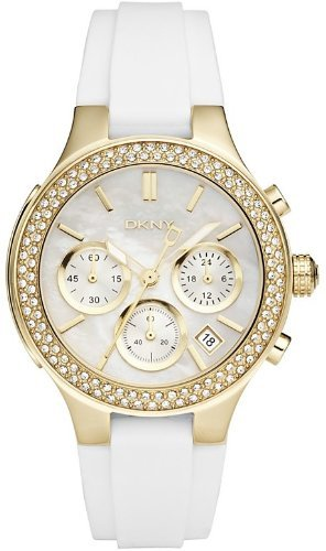 DKNY Chronograph Mother of Pearl Dial Gold-tone White Rubber Strap Ladies Watch NY8197