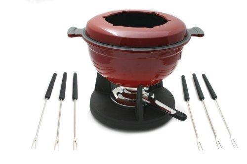 Swissmar Lucerne 10-Piece Meat Fondue Set, Red Enameled Pot