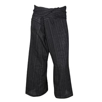 Thai Fishermans Trousers Pants & Shorts - 100% Cotton with Faint Stripes (3/4 Leg Length, Black)