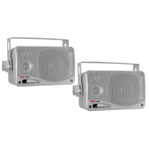 Pyle Plmr24S 3.5-Inch 200 Watt 3-Way Weather Proof Mini Box Speaker System (Silver Color)