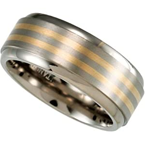 8 mm Comfort Fit Titanium and 14k Yellow Gold Inlay Band Size 13