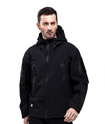 FREE SOLDIER Men Outdoor Tactical Softshell Jacket Waterproof Army Military Hooded jacket (Black XXL) (Fishing Jacket Waterproof compare prices)