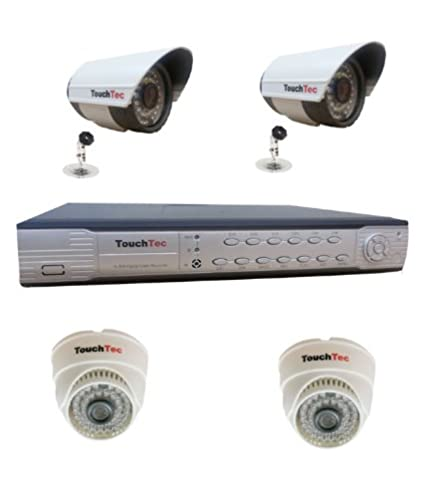 TouchTec 4 Channel DVR+ 2 Bullet IR + 2 Dome IR 600 TVL CCTV Camera(5Pcs)