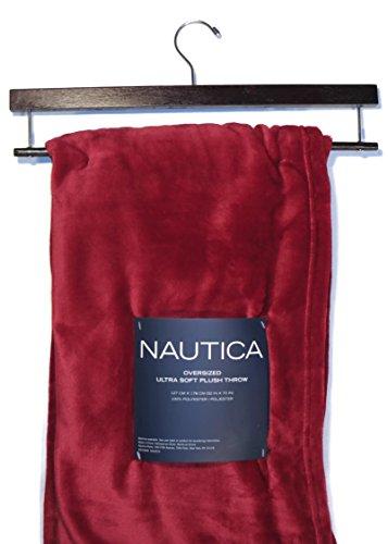 "Plush Throw Blanket Designer Nautica Red 50"" X 70"" With Storage Hanger front-1023454"