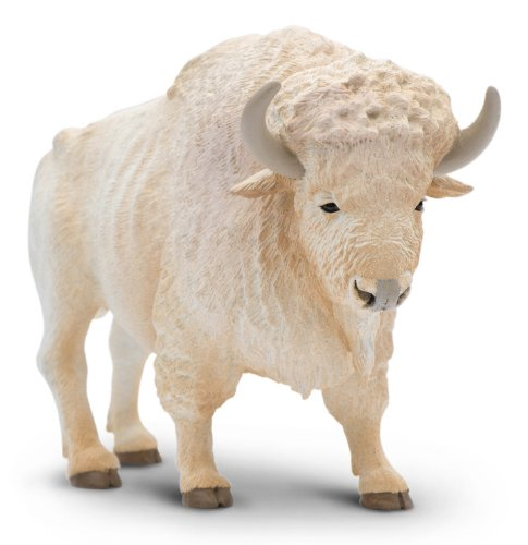 Safari Ltd North American Wildlife White Buffalo Realistic Hand-Painted Toy Figurine Model For Ages 3 And Up