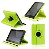 Green 360 Degree Rotating Leather Case Cover with Swivel Stand for Amazon Kindle Fire