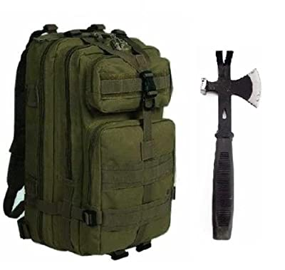 "Ultimate Arms Gear Surviaval Combo: 13"" Tactical 3 in 1 Mulit-Use Emergency Supply Tool Chop Hatchet Axe + Flat Head Hammer + Wrecking Ripping Pry Bar with Rubberized Grip Handle + OD Olive Drab Green Compact Level 3 Full Featured Assault Pack Backpack 3"