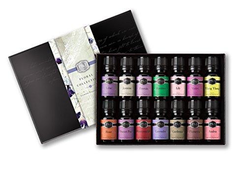 Floral-Set-of-14-Premium-Grade-Fragrance-Oils-Violet-Rose-Freesia-Jasmine-Lilac-Gardenia-Lily-Honeysuckle-Azalea-Ylang-Ylang-Sweet-Pea-Plumeria-Lavender-Bamboo-10ml
