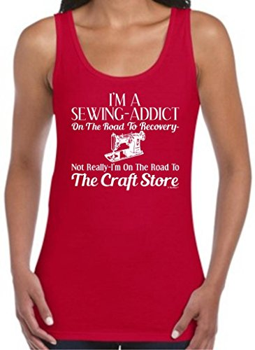 Sewing Addict On The Road To Recovery, Craft Store Juniors Tank Top Medium Cherry Red