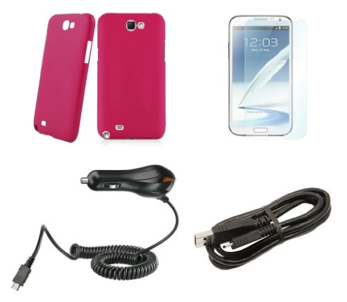 Samsung Galaxy Note Ii - Accessory Kit - Magenta Pink Slim Fit Back Cover Case + Atom Led Keychain Light + Screen Protector + Micro Usb Cable + Car Charger