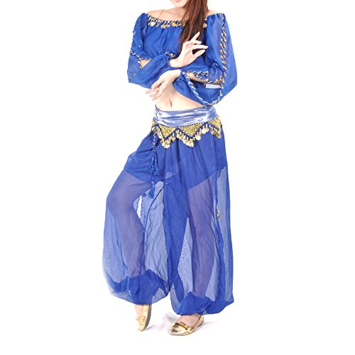 BellyLady Belly Dance Costume Set, Chiffon Harem Pants & Crop Top, Folklore Fun