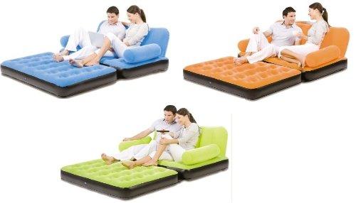 Bestway Double Flocked Air Inflatable Sofa / Bed (Orange)
