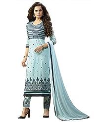 Sky Blue Expressive Pure Cotton Straight Unstitched Suit