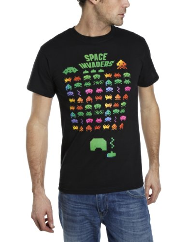 Space Invaders Men's Multi Invasion Regular Fit Short Sleeve