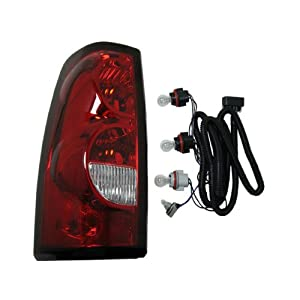 2004-2005-2006-2007 Chevrolet/Chevy Silverado 1500 2500 3500 Full Size Pickup Truck (Fleetside Models Except 3500 Dually) Taillight Taillamp Rear Brake Tail Light Lamp (with dark trim) Left Driver Side (04 05 06 07)