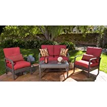 Hot Sale PATIO FURNITURE ALL WEATHER WICKER OUTDOOR LAWN & GARDEN RUSHREED 4 PC WITH CUSHIONS RED