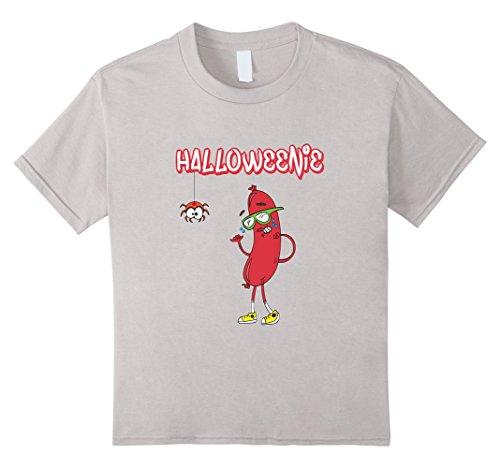 [Kids Halloweenie Funny Spider Hot Dog Weiner Cute Costume T-Shirt 4 Silver] (Funny Weiner Dog Costumes)