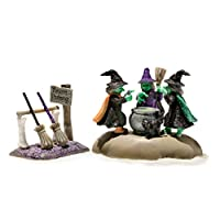 Grasslands Road, Halloween Spooky Town Mini Witch Cauldron & Broom Set of 2
