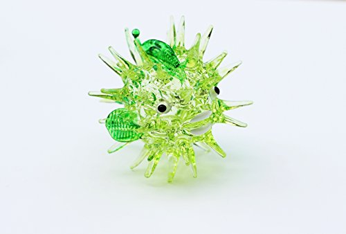 Aquarium MINIATURE HAND BLOWN Art GLASS Green Puffer Fish FIGURINE Collection (Funeral Flowers With Basket Stand compare prices)