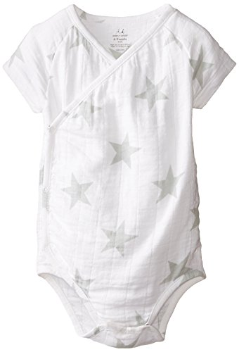 aden + anais Baby-Boys Newborn Muslin Short-Sleeve Kimono Bodysuit, Silver Star, 3-6 Months