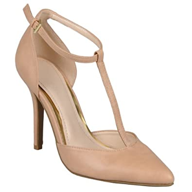 Brinley Co Womens Faux leather Almond Toe T-Strap Pumps