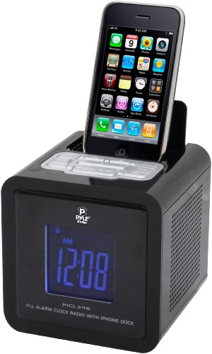 Pyle Home PICL34B iPod and iPhone Clock Radio with FM Receiver and Dual Alarm Clock (Black)