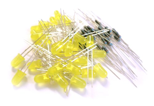 Microtivity Il121 5Mm Diffused Yellow Led W/ Resistors (Pack Of 30)