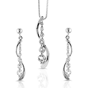 Sterling Silver Journey Set(Pendant and Earrings) w/ Created White Sapphire and 18