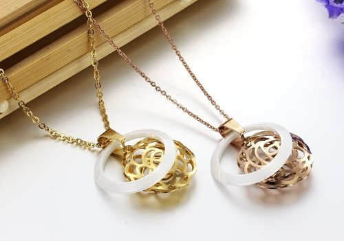 OPK New Fashion 2-Color Ceramics Women's Pendant Necklace Best Gift!