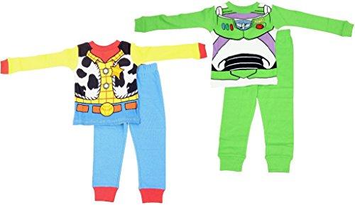 disney-toddler-boys-toy-story-woody-buzz-uniform-4-piece-cotton-pajama-set-green-blue-4t