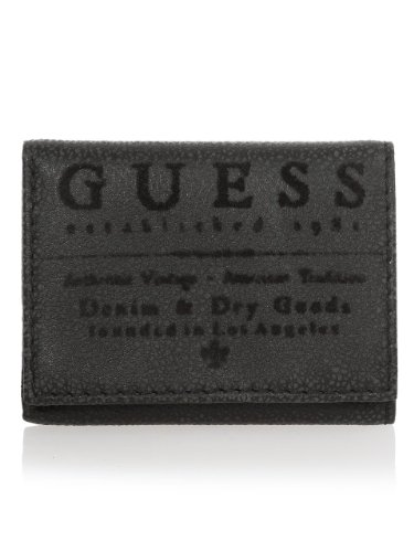 GUESS Black Logo Tri-fold Wallet