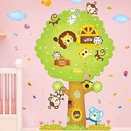 Brandream Kids Rooms Wall Sticker Lion Monkey Elephant Wall Decals Nursery Room Wall Stickers