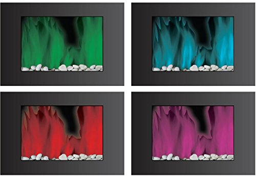 Frigidaire Owf-10303 Oslo Wall Hanging Led Fireplace With Color-Changing Flame Effect And Remote Control - Black