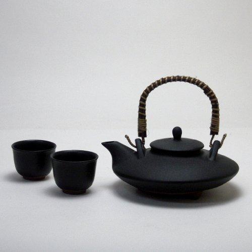 じざけや 黒千代香 (くろじょか) セット (耐熱黒釉焼酎燗瓶)2客ツル付き